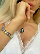 Sapphire Faberge Egg Necklace And Bracelet Gift Birthday Anniversary 24k Gold Hmde