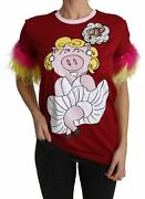 Dolceandgabbana Women Red T-shirt 100 Cotton Pig Print Feather Sleeves Casual Top