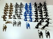 Lot Of 74 Armored Knights 2-1/4 Plastic Soldiers Medieval Army Men Marx