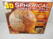 New Sealed 3-d Spherical Antique Globe Jigsaw Puzzle 530 Pieces 9.5 Diameter