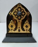 Antique Coromandel Wooden Book Slide With Brass And Glass Accents