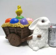 Vintage Ceramic Easter Bunny Pulling Cart With Eggs Chick 11 Long Candy Cart