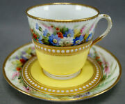 Royal Worcester Hand Painted Floral Yellow And White Jeweled Cup And Saucer C. 1879