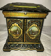 Antique Mop Mother Of Pearl Inlay Cabinet Jewelry Box Painted Paper Mache Wow