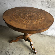 Pedestal Table Italian In Marquetry - Italy Period 19th Century - Delivery Poss