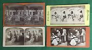 Lot Of 4 Vintage Stereopticon Stereo Cards 3 Humor And 1 Office Scene