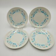 Four 4 Mcm Blue Heaven Dinnerwear Bread And Butter Plates 6.5 In. Space Age Grey