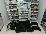 Microsoft Xbox 360 S Slim Console Black Cleaned Tested + 100 Games Cod Ac