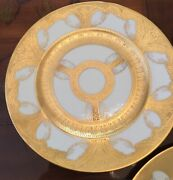 """Large 10 7/8"""" Minton Dinner Plates 22 K Gold Encrusted Gilt Swags Set Of 8 Lot"""
