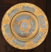 Large 10 7/8andrdquo Minton Dinner Plate 22k Gold Encrusted Gilt Swags 2 Available Rare