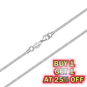 925 Sterling Silver Snake Chain Necklace W/ Lobster Lock Menand039s Womenand039s 16-24inch