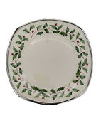 Lenox Holiday Platinum Square Accent Luncheon Plate- China Dinnerwear