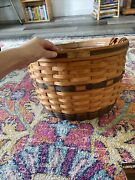 Longaberger Jw Collection Corn Basket 1991 Beautiful Navy Blue With Liner Papers
