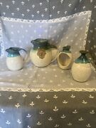 Set Of 4-watts Pottery Pitcher, Creamer,vase And Tea Lite Candle Holder No Chips