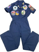 Vintage Us Navy Vet Veteran Coveralls With Patches Pins Nasa Space Shuttle