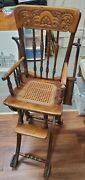 Antique Oak Convertible Pressed Back Victorian High Chair Baby Stroller Floor