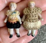 """Lot 2 Rare Tiny Antique German Hertwig Carl Horn Mini Bisque Doll Pair 1"""""""