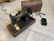 Antique Singer Sewing Machine Portable With Bentwood Case Excellent Looking