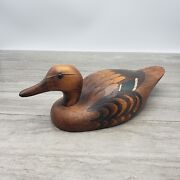 Vintage Carved Mallard Duck Hen Wood Decoy Signed John J Barto 1982
