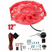 Universal 12push Pull Electric Radiator Cooling Fan+relay Wire Thermostat Red