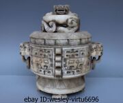 Chinese Old Stone Jade Carving Buddhism Beast Dragon Pot Censer Incense Burner A
