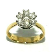 Ladies Stunning 18ct Yellow Gold Ring Set With A Cluster Of Diamonds Uk Size M