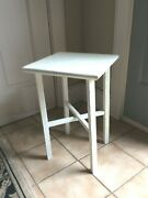 Small Vntg Arts And Crafts Wood White Plant Coffee Stand Chic Side Table Shabby