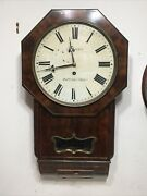 Antique English Fusee Wall Clock W/ Brass Inlay Yealy Burton On Trent