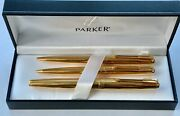 Set Argentine Parker Golden 61 Mkii Fountain Pen, Ballpoint And Pencil With Box.