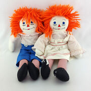 Set 2 Raggedy Ann And Andy Plush Vintage Stuffed Dolls Large 20 Primitive Toys