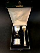 German 800 Silver Set Featuring Egg Cup, Spoon And Napkin Ring Antoine