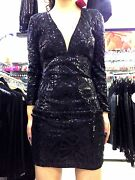 Chic Sexy Woman Dress Slinky Black In Sequin One Size Long Sleeve