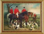 Hand-painted Old Master-art Antique Oil Painting Hunting Dog Horse On Canvas