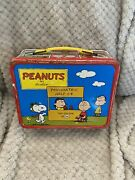 Vintage Peanuts Red Metal 1973 Lunchbox W/thermos Psychiatric Help 5 Cent