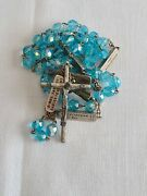 Catholic Rosary Blue Glass Beads Italy Rotating Stations Of The Cross