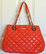 Kate Spade Gold Coast Maryanne Bright Coral Quilted Leather Bag Large 478