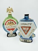 21970 And 74 Vintage Jim Beam Amvets Loyalty Protection Whiskey Decanters Empty