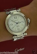 35mm Pasha Midsize Watch Date High Polish Stainless 2475 Papers Box Auto