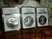 3 Pc. Set Silver Eagles 2013 Ms70, 2013 W Ms70 Burnished And 2013 W Pr70 Ngc E/r