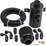 An10 750ml Baffled Engine Oil Catch Breather Can With Filter And 3m Hose Kit Black