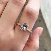 2.09ct Oval Pastel Blue Montana Sapphire Engagement Ring In 14k Rose Gold