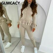 Women Solid Elegant Two Piece Suits Long Sleeve Ruffles Top And Skinny Pants Set