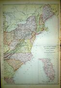 1882 Large Victorian Map United States Of North America Atlantic States