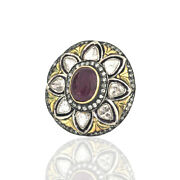 Rose Coupe Diamant And Rubis 14k Or 925 Argent Sterling Victorien Style Bague