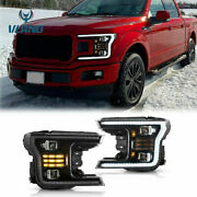 1 Pair Full Led Headlights Sequential Indicator For 2018-2020 F-150 F150 Black