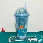 Starbucks Tumbler Acrylic 16oz.fox Holiday Cold Cup Blue Lid Dome Glitter