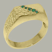 18k Yellow Gold Natural Emerald Mens Band Ring - Sizes 6 To 12