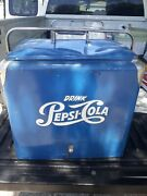 Vintage Pepsi Cola Blue Picnic Cooler Ice Chest Complete With Tray