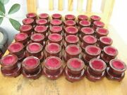 36 Pretty Red Wood Tower Stand Pedestal Holding Sphere