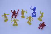 Vintage Mpc Native American Indian Western Plastic Toy Figures Lot Of 8 I